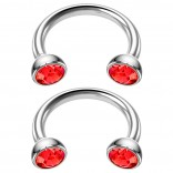 2pc 16g Stainless Steel Circular Barbell Horseshoe crystal Tragus Earrings Red Crystal 8mm 5/16