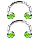 2pc 16g Stainless Steel Circular Barbell Horseshoe crystal Tragus Earring Peridot Crystal 8mm 5/16