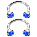2pc 16g Stainless Steel Circular Barbell Horseshoe crystal Tragus Earrings Sapphire Crystal 8mm