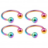 4pc 16g Rainbow Horseshoe Circular Barbell Earring Tragus Piercing Stainless Steel Set Pack Lot 10mm
