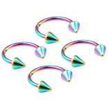4pc 16g Rainbow Horseshoe Circular Barbell Earring Tragus Piercing Stainless Steel Cone Set Lot 10mm