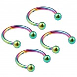 4pc 16g Rainbow Horseshoe Circular Barbell Earring Tragus Piercing Stainless Steel Cone Set Lot Pack
