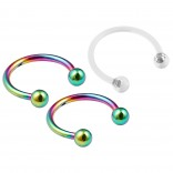 3pc Rainbow Circular Barbell Horseshoe Earrings Daith Tragus Helix Piercing & Clear Retainer