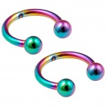 2pc 16g Rainbow Circular Barbell Horseshoe Earrings Anodized Stainless Steel Tragus Daith Helix 8mm