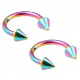 2pc 16g Rainbow Circular Barbell Horseshoe Earrings Anodized Stainless Steel Tragus Daith Spike 8mm