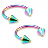 2pc 16g Rainbow Circular Barbell Horseshoe Earrings Stainless Steel Tragus Spiked Cartilage Piercing