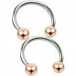 2pc 16g Stainless Steel Circular Barbell Horseshoe Earring Tragus Helix Piercing 12mm Rose Gold Ball