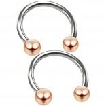 2pc 16g Stainless Steel Circular Barbell Horseshoe Earrings Tragus Helix Piercing Rose Gold Balls