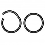2pc 18g Hinged Clicker Captive Bead Ring Black 8mm Helix Earring Nose Hoop Rook Cartilage Tragus Lip Septum Forward Eyebrow Ear Lobe Nostril Rings Seamless Surgical Steel