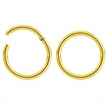 2pc 18g Hinged Clicker Captive Bead Ring Gold 8mm Helix Earring Nose Hoop Rook Cartilage Tragus Lip Septum Forward Eyebrow Ear Lobe Nostril Rings Seamless Surgical Steel