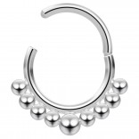 16g Hinged Segment Rings Steel Septum Nostril Seamless Clicker Hoop Cartilage Nose 10mm - Steel