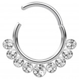 16g Stainless Steel Septum Hinge Clicker Hoop Segment Ring 16 Gauge Cartilage Earrings Nose Stud Piercing Jewelry - Steel