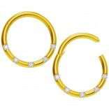 2pc 18g CZ Gold Clicker Septum Ring Clamp Clip Closed Counter Daith Ear Earring Gauge Hinged Helix