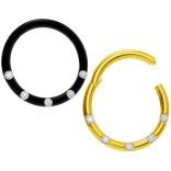 2pc 18g CZ Black Gold Hinged Segment Rings Steel Septum Nostril Seamless Clicker Hoop Cartilage Nose