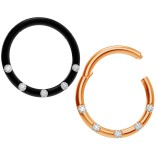 2pc 18g CZ Black Rose Gold Click Septum Ring Clamp Clip Closed Daith Ear Earring Gauge Hinged Helix