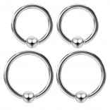 2pc 8mm 5/16 & 2pc 10mm 3/8 Captive Bead Ring Set Bulk Lot 16Gauge Surgical Stainless Steel 3mm Ball