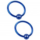 2pc 18 Gauge Captive Bead Ring Blue Surgical Stainless Steel Hypoallergenic Septum Earrings 8mm 5/16