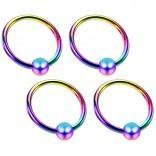 4 18g Rainbow Captive Ring Surgical Steel Tragus Snake Bite Cartilage BCR Septum Nose Helix Eyebrow