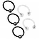 3pc 16g Captive Bead Ring Hoop Septum Cartilage Nose Lip Eyebrow Tragus Black Rook 8mm - 2 Retainers