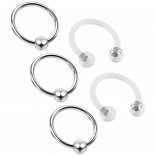 3pc 16g Captive Bead Ring Hoop Septum Cartilage Nose Lip Eyebrow Tragus Helix Rook 8mm - 2 Retainers