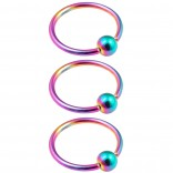 3pc 16g Captive Bead Ring Lip Rook Forward Helix Cartilage Septum Rim Tragus Belly Navel Eyebrow Conch 10mm Rainbow