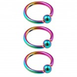 3pc 16g Captive Bead Ring Lip Rook Forward Helix Cartilage Septum Rim Tragus Belly Navel Eyebrow Conch 6mm Rainbow