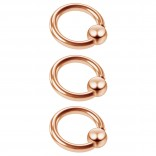 3pc 16g Captive Bead Ring Lip Rook Forward Helix Cartilage Septum Rim Tragus Belly Navel Eyebrow Conch 6mm Rosegold
