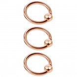 3pc 16g Captive Bead Ring Lip Rook Forward Helix Cartilage Septum Rim Tragus Belly Navel Eyebrow Conch 8mm Rosegold
