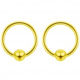 2pc Gold 16g 4mm Ball Closure Ring Captive Bead Piercing Lip Tragus Septum Cartilage Navel Forward Helix Rook Nose Belly Conch - 8mm