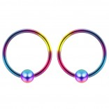 2pc Rainbow 16g 4mm Ball Closure Ring Captive Bead Piercing Lip Tragus Septum Cartilage Navel Forward Helix Rook Nose Belly Conch - 10mm