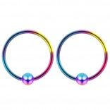 2pc Rainbow 16g 4mm Ball Closure Ring Captive Bead Piercing Lip Tragus Septum Cartilage Navel Forward Helix Rook Nose Belly Conch - 12mm