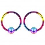 2pc Rainbow 16g 4mm Ball Closure Ring Captive Bead Piercing Lip Tragus Septum Cartilage Navel Forward Helix Rook Nose Belly Conch - 8mm
