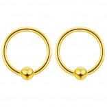 2pc Gold 14g 5mm Ball Closure Ring Captive Bead Piercing Lip Tragus Septum Cartilage Navel Forward Helix Rook Nose Belly Conch - 10mm