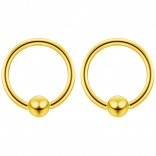 2pc Gold 14g 5mm Ball Closure Ring Captive Bead Piercing Lip Tragus Septum Cartilage Navel Forward Helix Rook Nose Belly Conch - 12mm