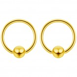 2pc Gold 14g 6mm Ball Closure Ring Captive Bead Piercing Lip Tragus Septum Cartilage Navel Forward Helix Rook Nose Belly Conch - 12mm
