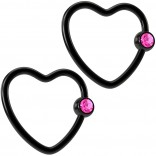2pc 16g Black Heart Captive Bead Ring Jeweled 16 Gauge Gem Crystal Hoop Earrings Rings CZ Rose Pink