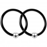 2pc Black 16g Captive Bead Ring 12mm 1/2 Helix Tragus Conch Daith Rook Septum Eyebrow Steel 4mm Ball