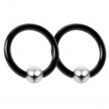 2pc Black 16g Captive Bead Ring 8mm 5/16 Helix Tragus Conch Daith Rook Septum Eyebrow Steel 4mm Ball