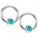 2pc 16g Captive Bead Ring Earrings CZ Aquamarine Blue Crystal 8mm 5/16 Piercing Jewelry