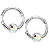 2pc 16g Captive Bead Ring Earrings Aurora Borealis AB Crystal 8mm 5/16 Piercing Jewelry