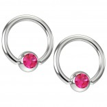 2pc 16g Captive Bead Ring Earrings Rose Pink Crystal 8mm 5/16 Gem Septum Piercing Jewelry