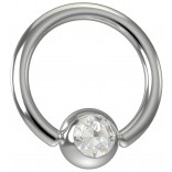 16 Gauge Titanium Captive Bead Ring Hoop Earring Crystal CZ Cubic Zirconia Gem 8mm 5/16