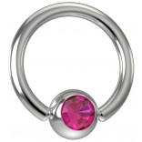 16 Gauge Titanium Captive Bead Ring Hoop Earring Crystal Pink Fuchsia Jewel Gem 8mm 5/16