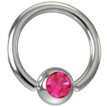 16 Gauge Titanium Captive Bead Ring Hoop Earring Crystal Rose Pink Jeweled Gem 8mm 5/16
