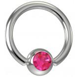 16 Gauge Titanium Captive Bead Ring Hoop Earring Crystal Rose Pink Jeweled Gem 8mm 5/16