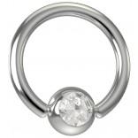 16 Gauge Titanium Captive Bead Ring Hoop Earring Crystal Jeweled Birthstone Gem 8mm 5/16