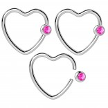 3pc 16g Heart Hoop Earring CBR Captive Bead Rings CZ Cartilage Daith Rook Helix Auricle Crystal Ball