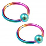 2pc 16g Rainbow Captive Bead Ring Hoop Septum Cartilage Nose Lip Eyebrow Tragus Helix Rook Bite 10mm