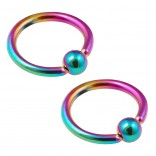 2pc 16g Rainbow Captive Bead Ring Hoop Septum Cartilage Nose Lip Eyebrow Tragus Helix Rook Bites 8mm
