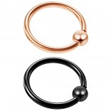 2pc 14 Gauge Captive Bead Ring 1/2 Rose Gold Black Anodized Hypoallergenic Septum Earring 12mm 1/2